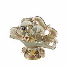 Murano Glass Napkin Holder Vase Centerpiece Capodimonte Porcelain Flowers - Grey