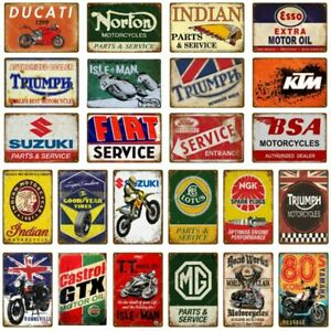 Motor Oil Metal Sign Classic Motorcycle Poster Vintage Moto Bike Decoration Bar