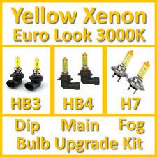 Warm White 3000K Yellow Xenon Headlight Bulb Set Main Dip Fog HB3 HB4 H7 Kit