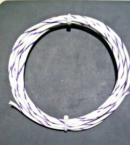 12 AWG  Mil-Spec Wire Type E, Wht/Vio (PTFE) Stranded Silver Plated Copper,10 ft