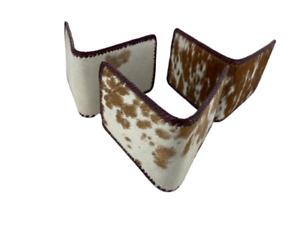 Men Genuine Cowhide Hair Leather Bi Fold Wallets Handcrafted