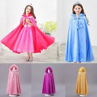 Kids Baby Girls Solid Outwear Warm Hooded Long Coat Princess Cloak Cape