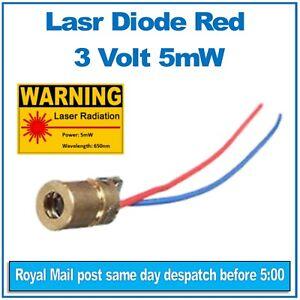 Laser diode module Brass. 3 Volt, 5mW Red 650nm Diameter 6mm