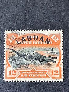 LABUAN 1894-96 12c ORANGE-VERMILION FU SG 70 CAT £55