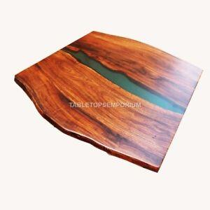 Custom Epoxy Table, Green Acacia River Dining Table, Epoxy Resin Luxury Table