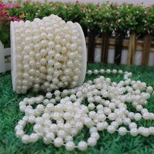 10m/Roll Perlenkette Perlenband Perlenschnur 8mm Girlande Hochzeit Feiern Deko