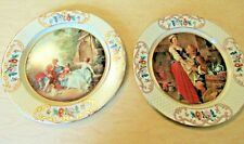 2 Daher Decorated Ware 8 Inch Round Tin Plates Victorian Scenes Made in Belgium