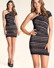 NWT bebe XXS XS black one shoulder slash beige overlay lace top dress bodycon