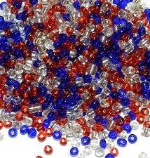 SB19 Patriotic Red, White & Blue USA Silver Lined Glass Seed Bead Mix 1-Ounce