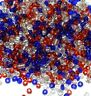 SB19 Patriotic Red, White & Blue USA Silver Lined Glass Seed Bead Mix 1oz