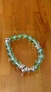 LINKS OF LONDON Green Crystal Stones Silver Bangle Bracelet