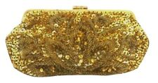 Vintage Gold Sequin Embroidered Evening Purse  Clutch Clasp Fashion