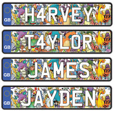 Personalised Number Plates for Ride on Car Jeep Truck Childrens Name - 2 Pack