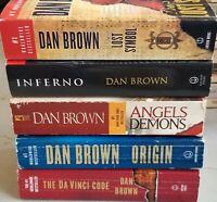 Lot Dan Brown Complete Robert Langdon Set 1-5 Inferno/Da Vinci Code+