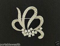 Pin Brooch Round Diamond 18K White Gold