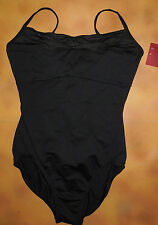 NWT Dance Mirella Black Camisole Leotard Pinch Pleats Ladies Small Adult M2053LM