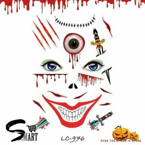 Halloween Sword Bleeding Wound Scary Smile Temporary Face Tattoo Sticker LC976