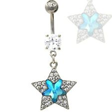 """Ring 316L Navel Jewelry (14g 3/8"""") Aqua/Clear Gem Paved Two Star Dangle Belly"""