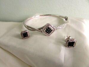 DESIGNER SUN  STERLING  BLACK AND WIHTE DIAMONDS BANGLE  BRACELET &  EARRINGS