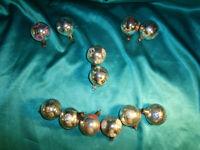 12 antike kleine Christbaumkugeln Glas silber blau rot weiß Weihnachten Lauscha