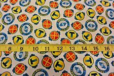 Thomas the Tank Fast Friends Round Patch Allover Cotton Fabric White