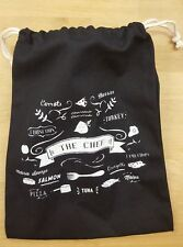 Drawstring Gift Bag Cotton - Vintage Style Black Cuisine Kitchen Cook Chef Large