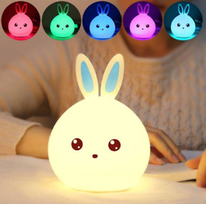 Rabbit 7 Colors Silicon Lamp Led USB Night light For Children Kids Gift Cartoon