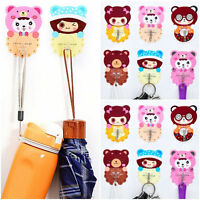 Cartoon Adhesive Plastic Bathroom Towel Holder Home Hanger Fridge Door Wall Hook