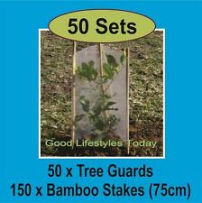 50 x Tree/Plant Guard Protection Sleeves & 150 Bamboo Stakes 750mm Long - TUFF!!