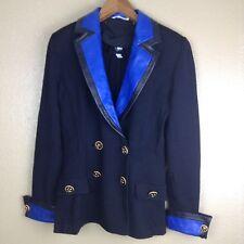St John Collection Blazer Cardigan Black Removable Blue Collar Cuffs Sz 9 EUC