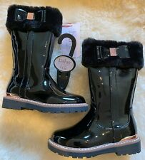 Baker by Ted Baker Black Faux Patent Fur Girls Tall Boots Size 7 UK (24) RRP£50
