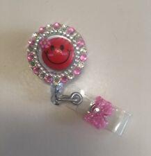 Retractable Reel Bling ID Badge Holder handmade Pink HappyFace Rhinestones bling