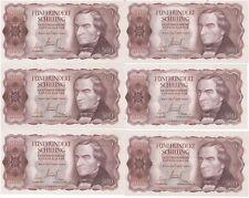 1965 Banknoten 17 Stück Schilling FOLGENUMMERN x6 Ressel Suttner Österreich 500