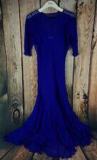 Carol Peretz Purple Silk Two Piece Bejeweled Cocktail Dress Gown Size 14 VTG