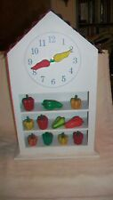 Kitchen Wall or Countertop Clock with Green, Yellow & Red Peppers