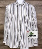 Lacoste Men's Multicolor Striped Cotton Long Sleeve Button Up Shirt France 42 L