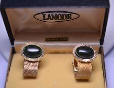 Stone Mesh Wrap Cufflinks Vintage Lamode Oval Green Agate