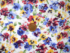 BLUE,PINK & YELLOW PANSIES ON AN IVORY BACKGROUND - 100% COTTON FABRIC FQ'S
