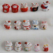 20 Japanese Porcelain Lucky Cat Beads Maneki Neko