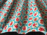 Vintage ROSE Cotton Fabric Material Floral Chic -112cm wide TURQUOISE any length