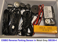 Metal Grey Colour Reverse Rear Parking 4 Sensor Aid Kit with Audio Buzzer Alarm