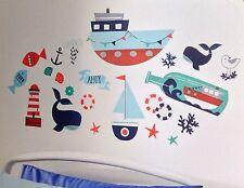 Calcomanías Decorativas Náutica Barco De Pared Vivero ballena temática extraíble 22 Pegatinas