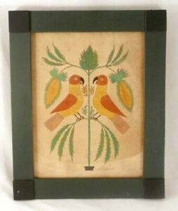 Folk Art Water Color on Paper Fraktur 2 Birds Facing Each Other by G. B. French