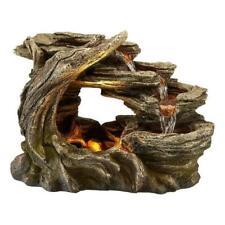 Tree Log Indoor Outdoor Polyresin Water Fountain LED Lights Garden Statues Decor