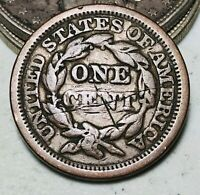 1848 Large Cent Matron Braided Hair 1C Ungraded Good Date US Copper Coin CC6523