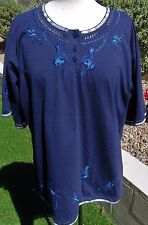 Anne Fashion Size XXL Blue Floral Pullover Short Sleeve Cotton Blend Top Blouse