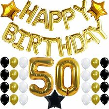50th BIRTHDAY PARTY DECORATIONS KIT - Happy Birthday Foil Balloons, 50 Number 50