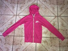 Womens Nike Jacket Hoodie Size XS X-Small Pink Full Zip Cotton Polyester Fit Run