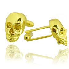 Mens Pirate Skull Cufflinks - Gold - Party Wedding Suit Sleeve Cuffs