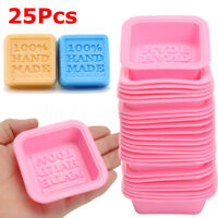 25x100% Handmade Quadratische Silikon Seifen Form Mould Seifenform Soap Mold DIY